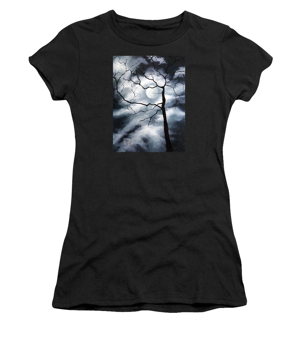 Winter Women's T-Shirt (Athletic Fit) featuring the painting Winter Evening by Elizabeth Lisy Figueroa