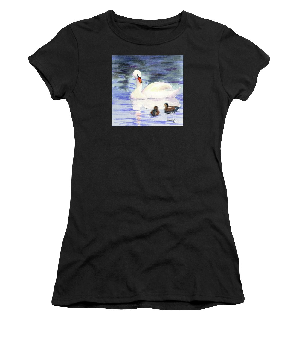 Swan Women's T-Shirt (Athletic Fit) featuring the painting Winter Friends by Wendy Mould