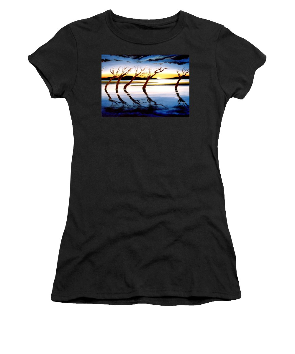 Seascape Women's T-Shirt (Athletic Fit) featuring the painting Winter Heatwave by Mark Cawood