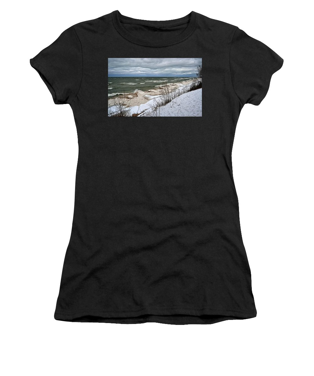 Iceberg Women's T-Shirt (Athletic Fit) featuring the photograph Winter Ice On Lake Michigan Ll by Michelle Calkins