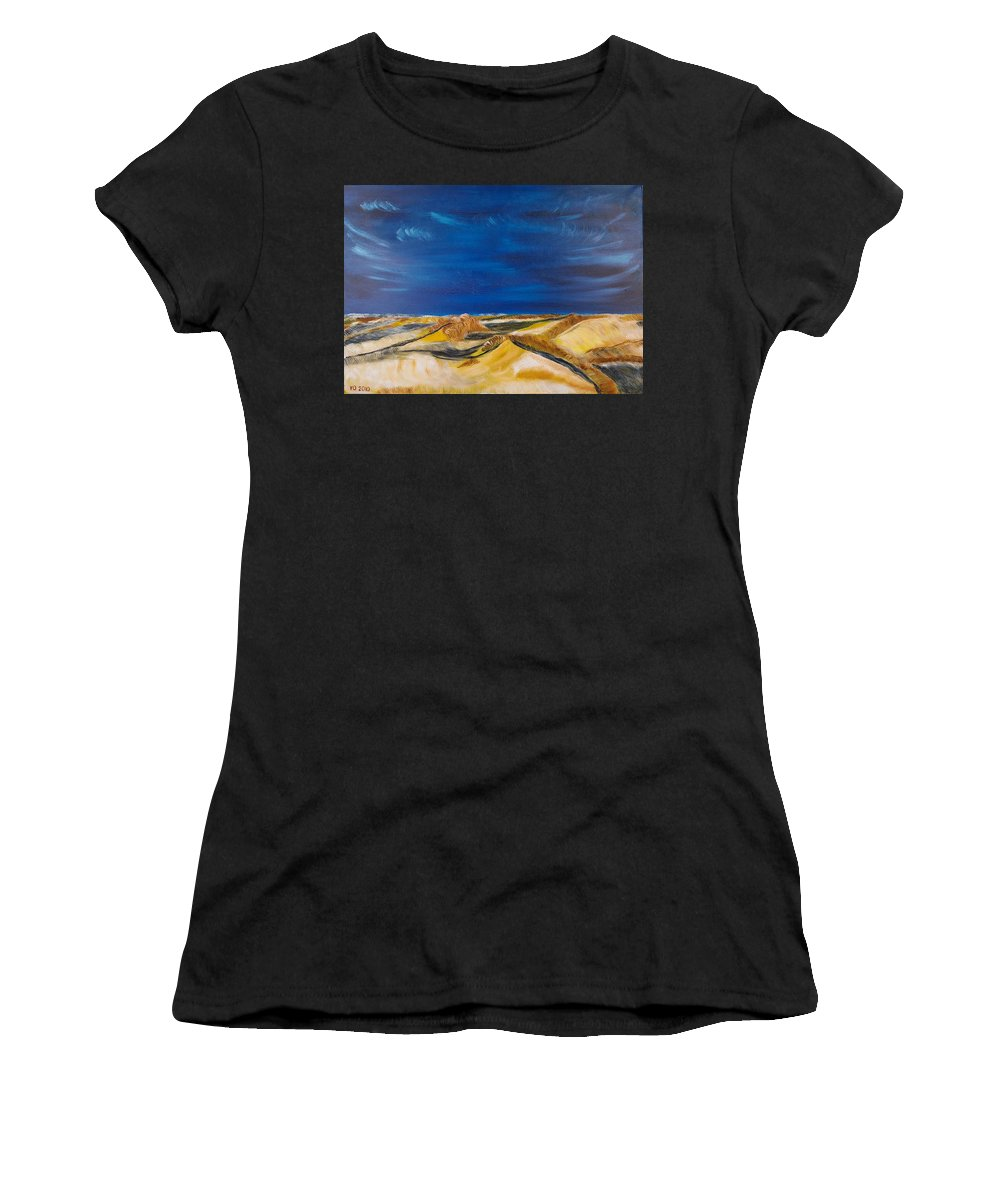 Island Women's T-Shirt (Athletic Fit) featuring the painting Winter Impression Of Sylt by Valerie Ornstein
