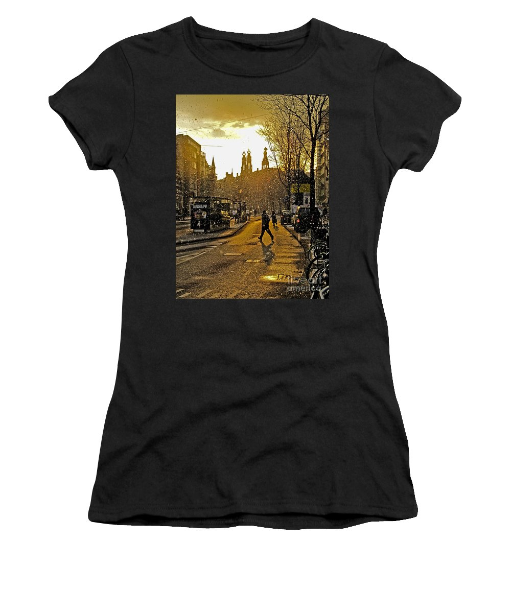 Amsterdam Women's T-Shirt (Athletic Fit) featuring the photograph Winter In Amsterdam-1 by Casper Cammeraat
