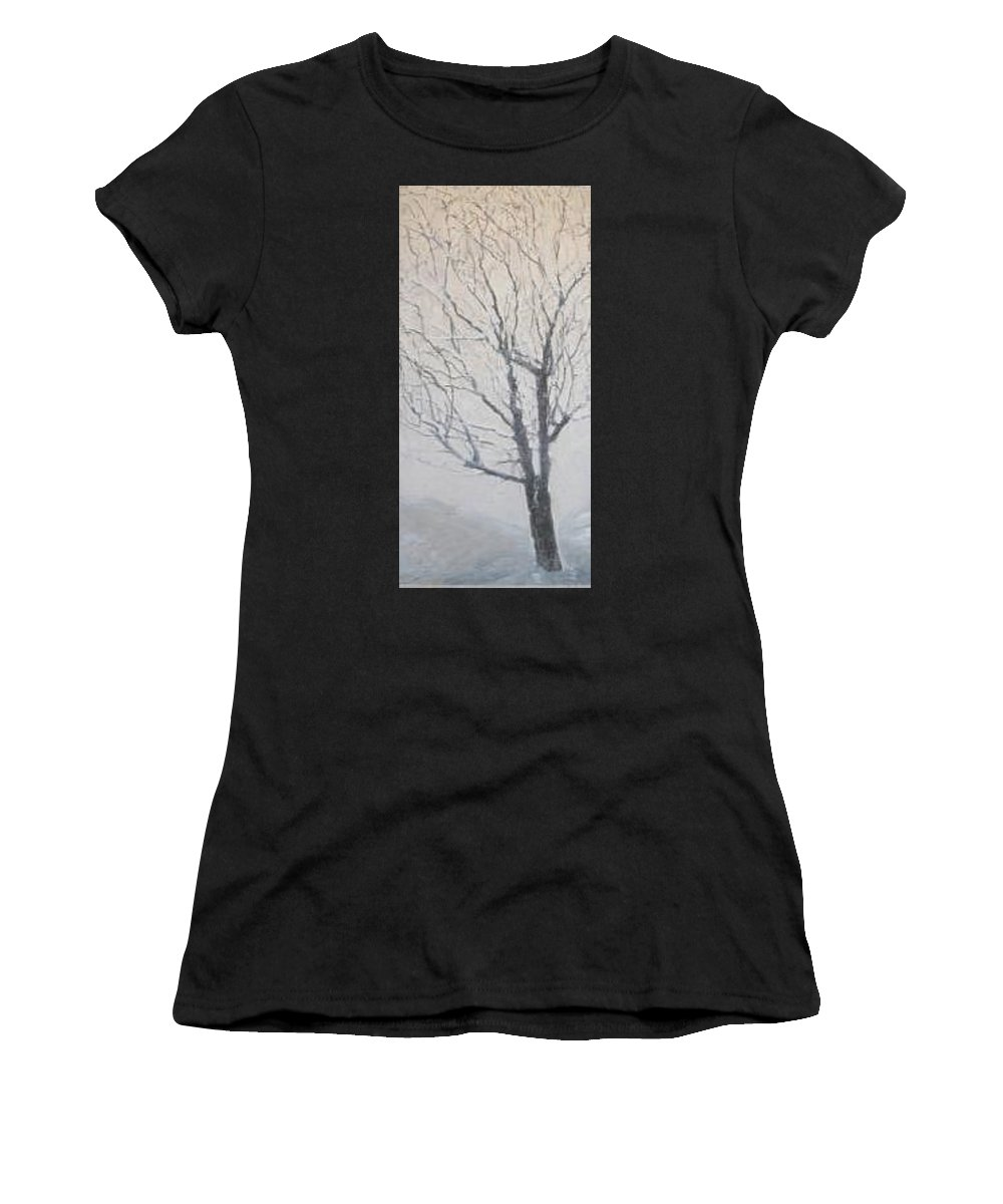Tree Women's T-Shirt (Athletic Fit) featuring the painting Winter by Leah Tomaino
