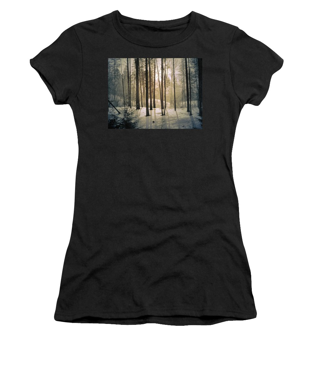 Winter Women's T-Shirt (Athletic Fit) featuring the photograph Winter Light by Tara Turner