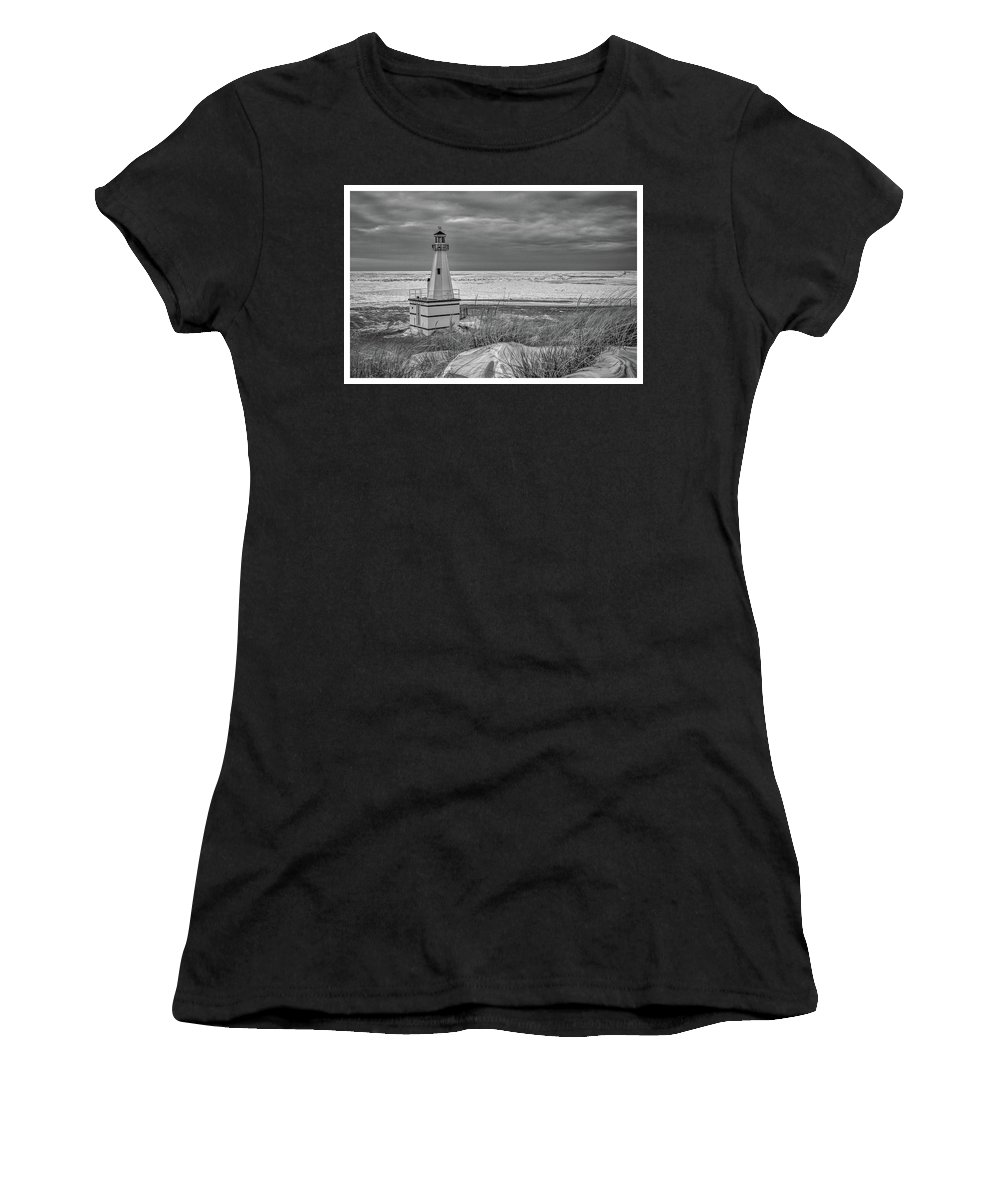 Beach Women's T-Shirt (Athletic Fit) featuring the photograph Winter Lighthouse by Joe Ladendorf