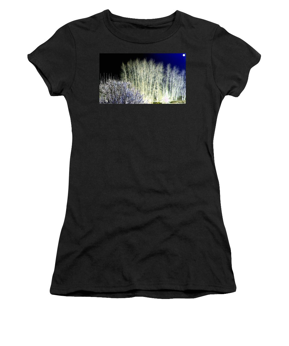 Winter Women's T-Shirt (Athletic Fit) featuring the digital art Winter Moonlight by Will Borden