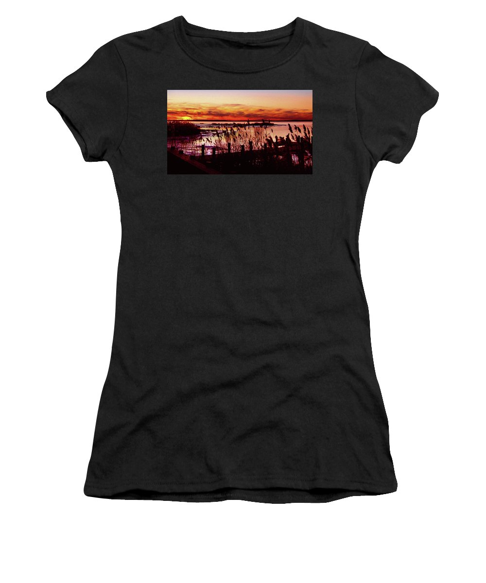 Sunset Women's T-Shirt featuring the photograph Winter On The Bay by Michael Forte
