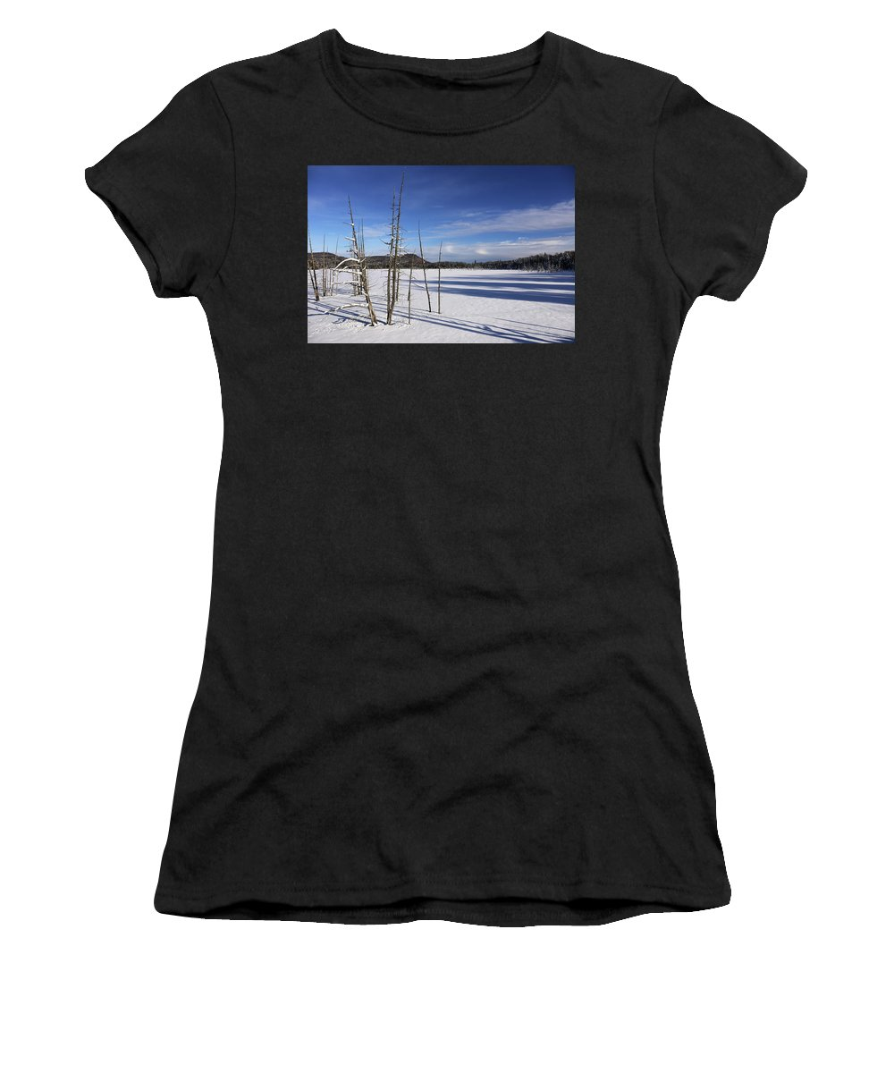 Winter Women's T-Shirt (Athletic Fit) featuring the photograph Winter Pond by Bill Mason