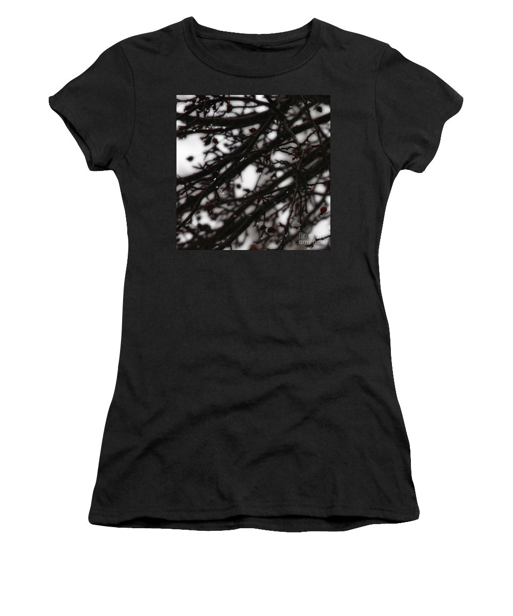 Branches Women's T-Shirt (Athletic Fit) featuring the photograph Winter Rain by Linda Shafer