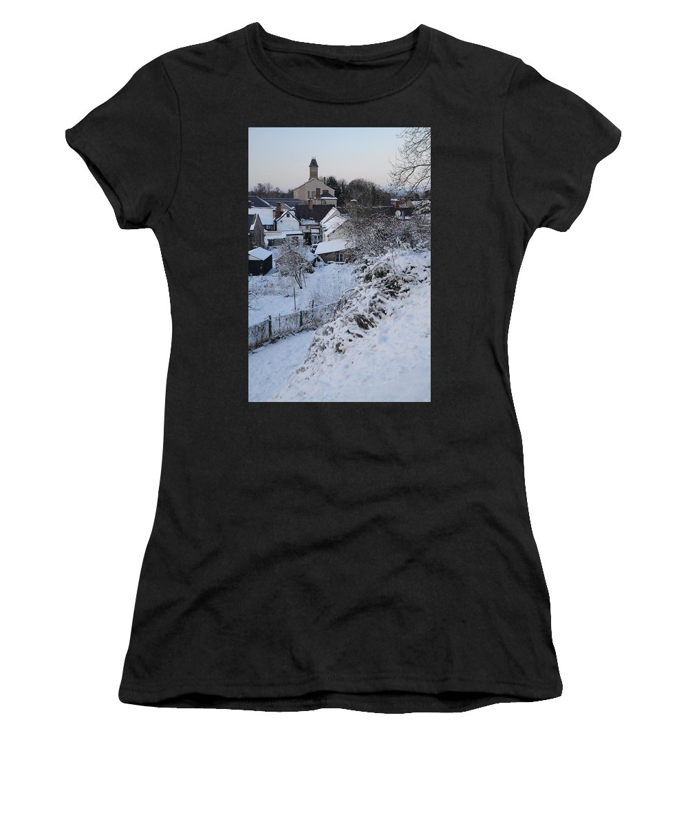 Winter Women's T-Shirt (Athletic Fit) featuring the photograph Winter Scene In North Wales by Harry Robertson