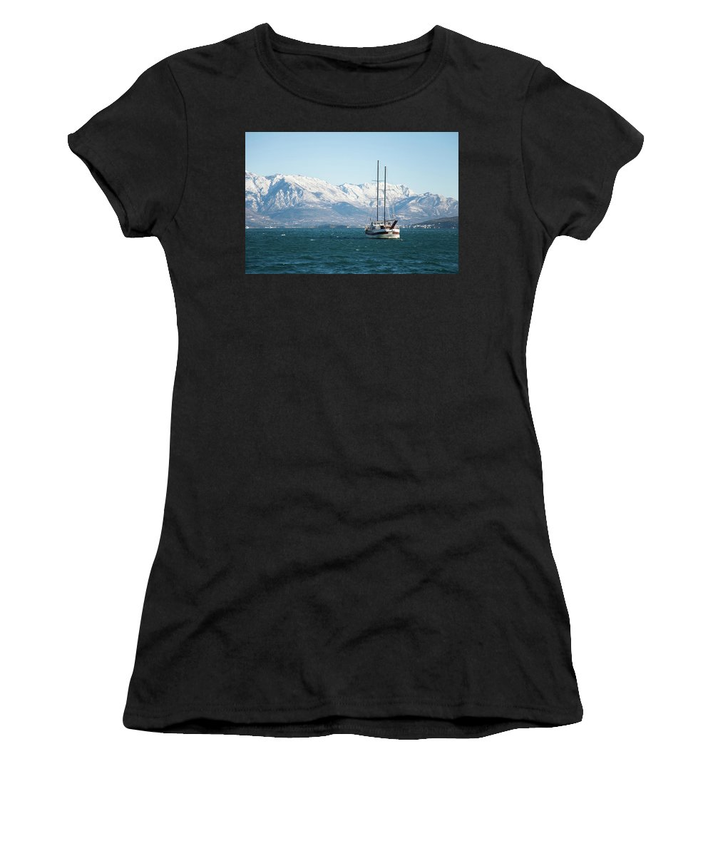 Yacht Women's T-Shirt (Athletic Fit) featuring the photograph Winter Sea by Marina Andrejchenko