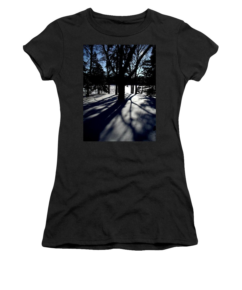 Landscape Women's T-Shirt (Athletic Fit) featuring the photograph Winter Shadows 2 by Tom Reynen