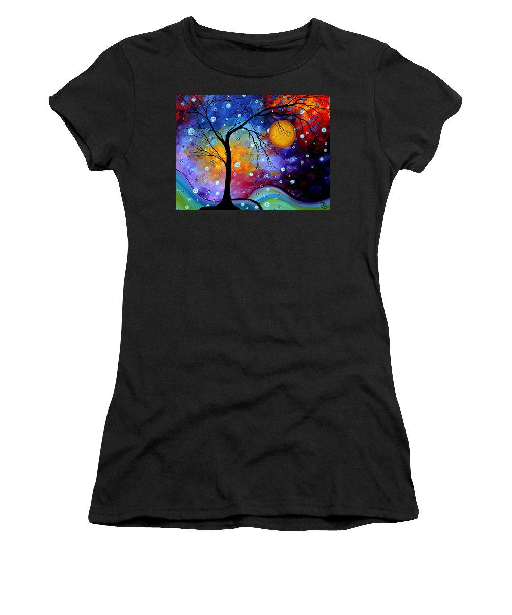 Abstract Paintings Women's T-Shirt featuring the painting Winter Sparkle By Madart by Megan Duncanson