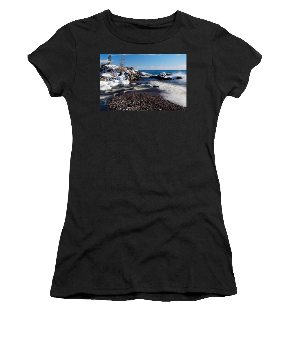Michigan Women's T-Shirt (Athletic Fit) featuring the photograph Winter Splash by Sebastian Musial