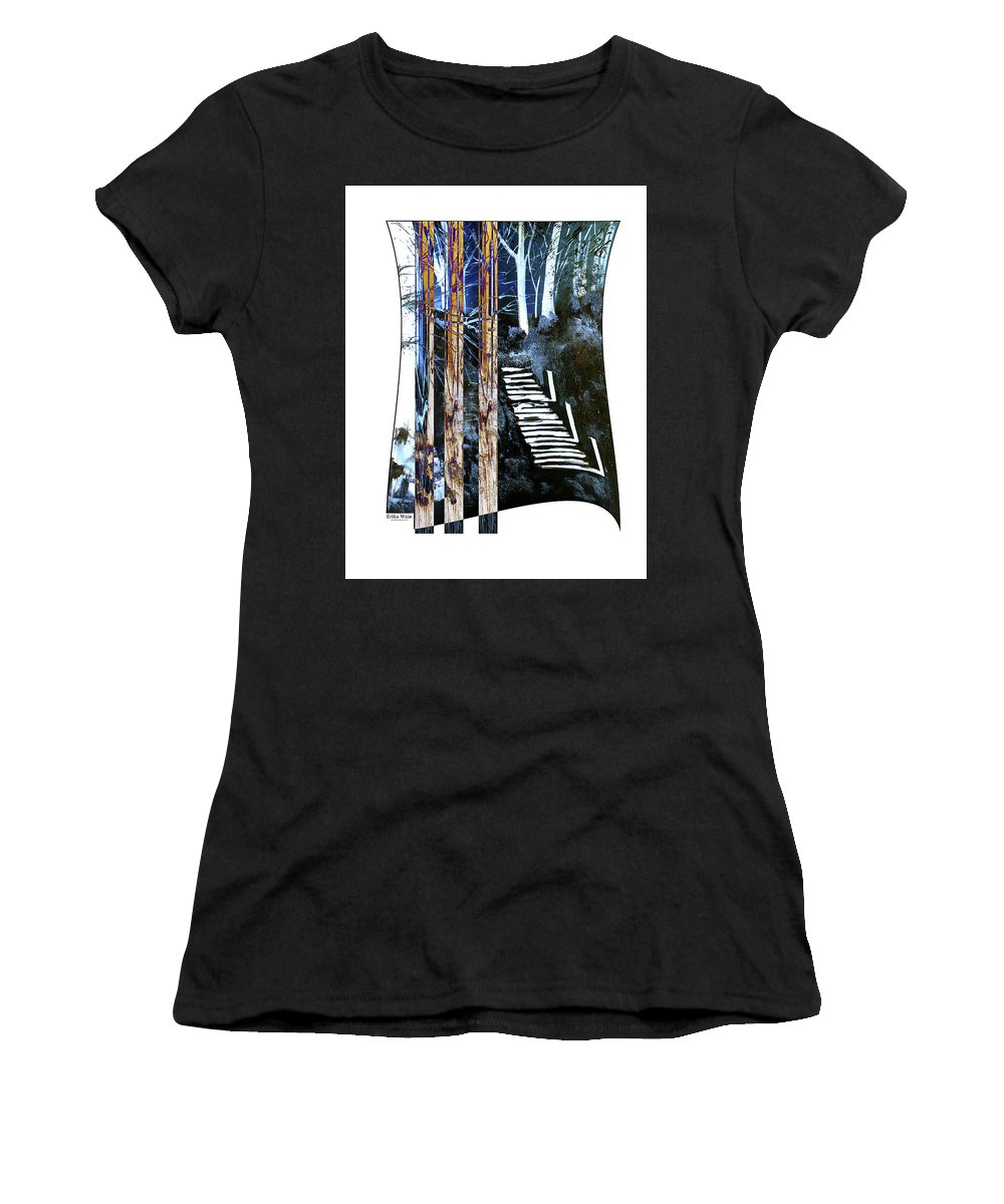 Landscape Women's T-Shirt featuring the photograph Winter Stairs In Blue by Erika Wain