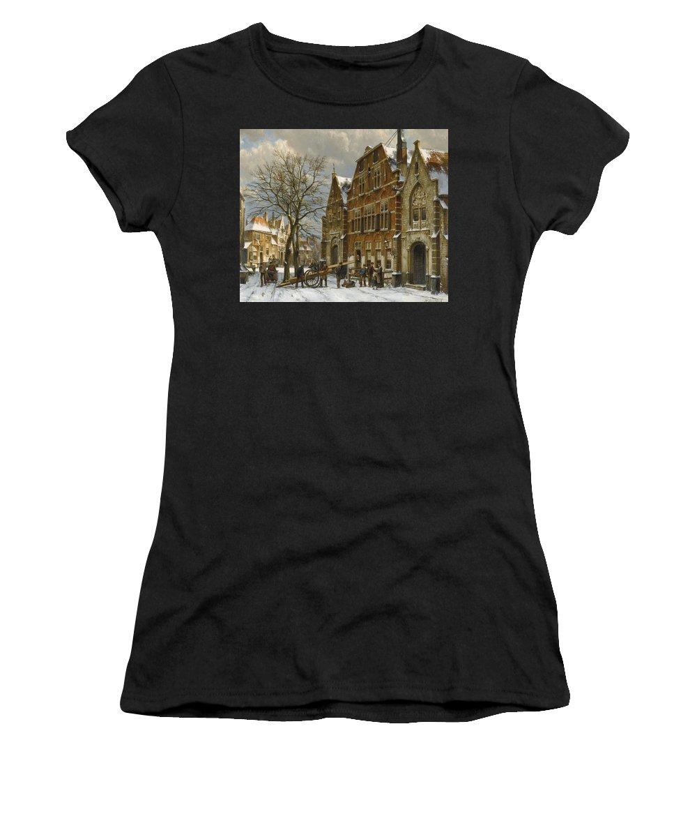 Willem Koekkoek Women's T-Shirt (Athletic Fit) featuring the painting Winter Street Scene. Oudewater by Willem Koekkoek