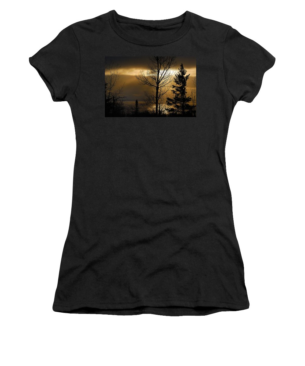 Nature Women's T-Shirt (Athletic Fit) featuring the photograph Winter Sunrise 1 by Sebastian Musial