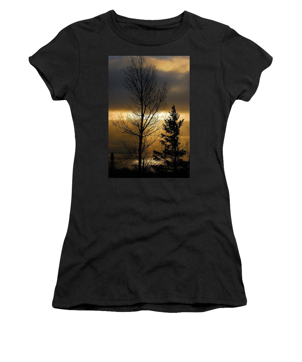 Nature Women's T-Shirt (Athletic Fit) featuring the photograph Winter Sunrise 2 by Sebastian Musial
