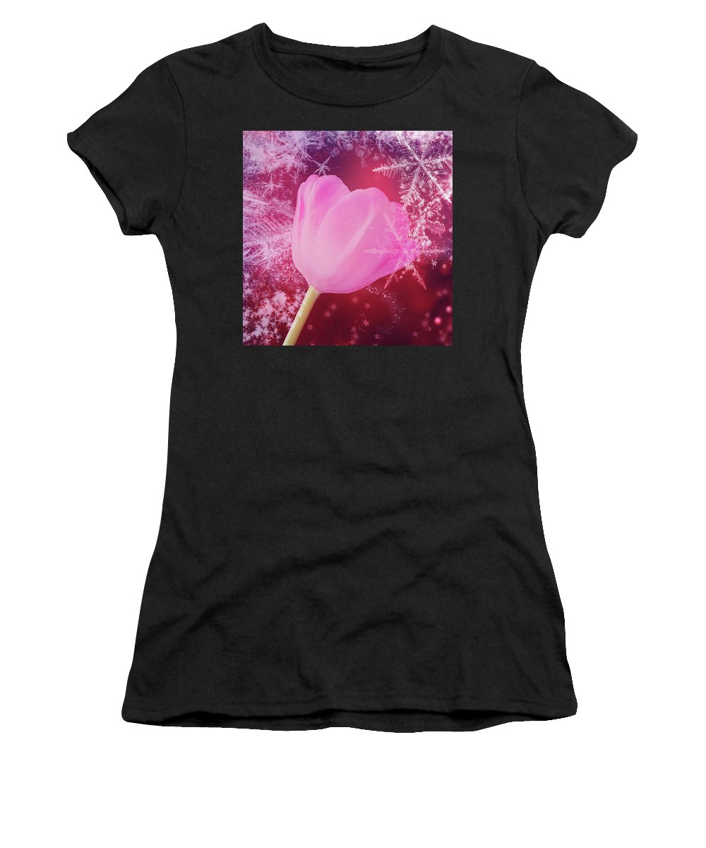 Winter Women's T-Shirt (Athletic Fit) featuring the photograph Winter Tulip Red Theme Snow by Johanna Hurmerinta