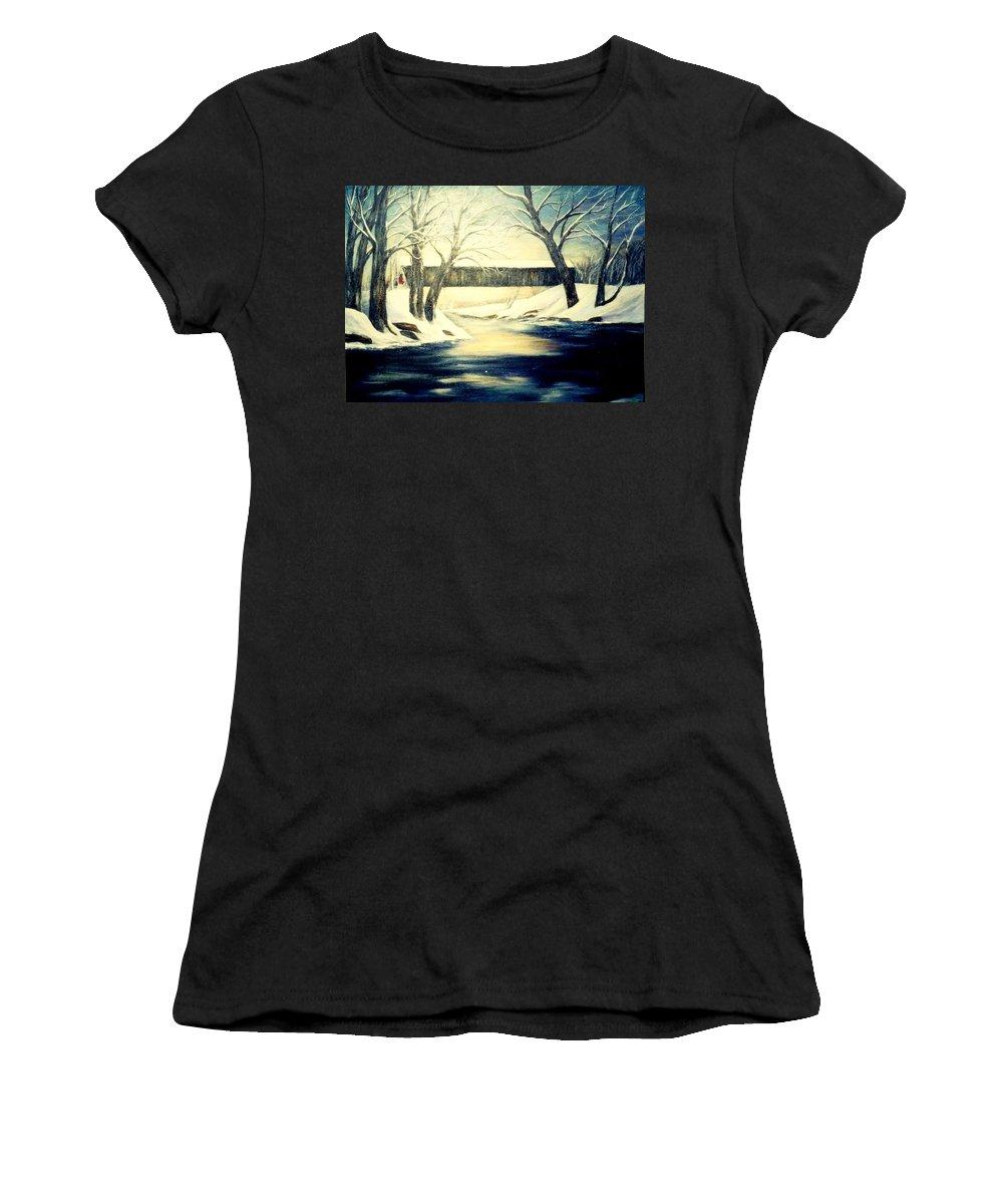 Bridge Women's T-Shirt (Athletic Fit) featuring the painting Winter Walk At Bennett's Mill Bridge by Gail Kirtz