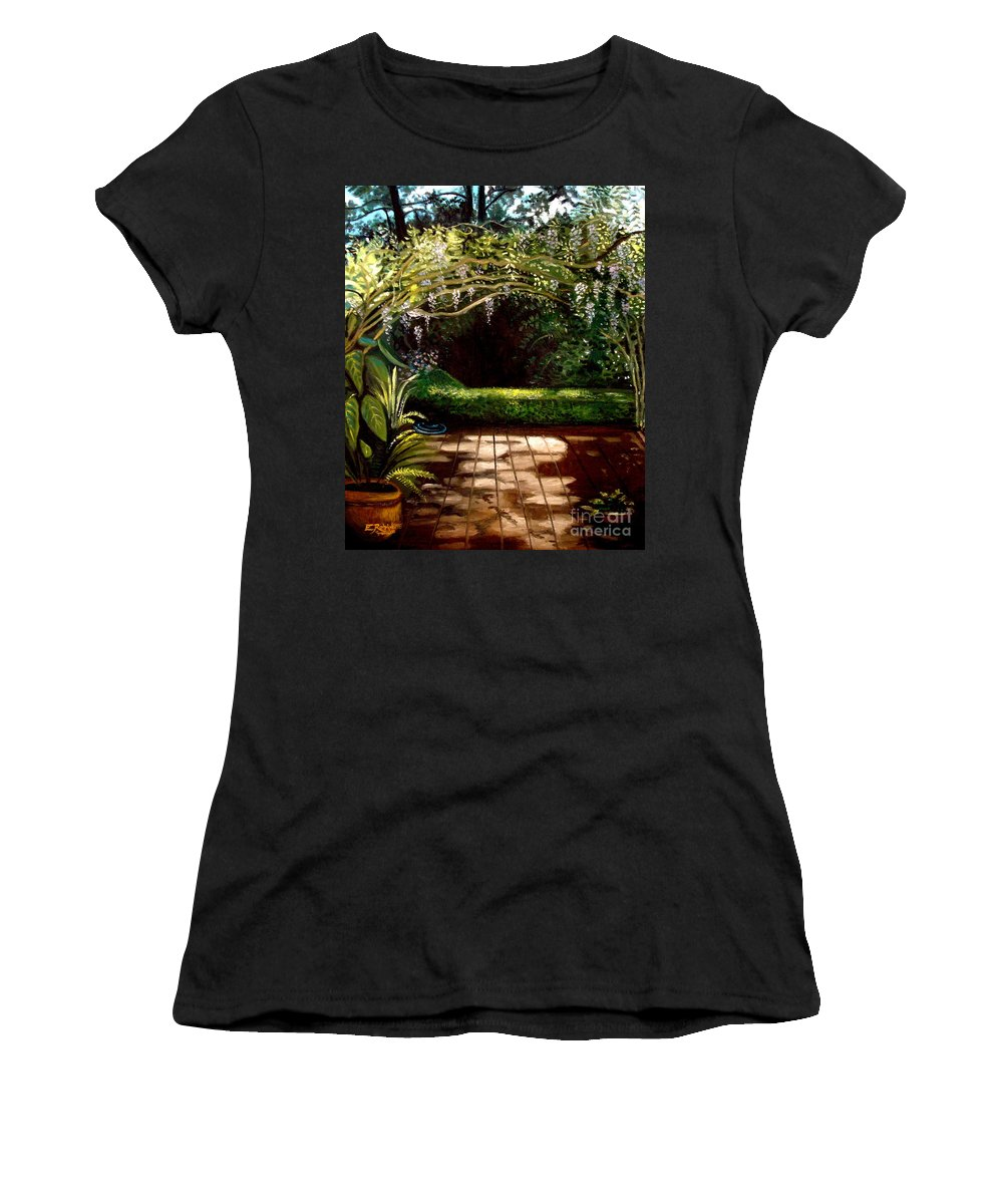 Landscape Women's T-Shirt (Athletic Fit) featuring the painting Wisteria Shadows by Elizabeth Robinette Tyndall