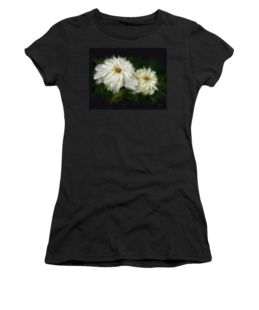 Peony Women's T-Shirt (Athletic Fit) featuring the painting Withering Peony by Bonnie Willis