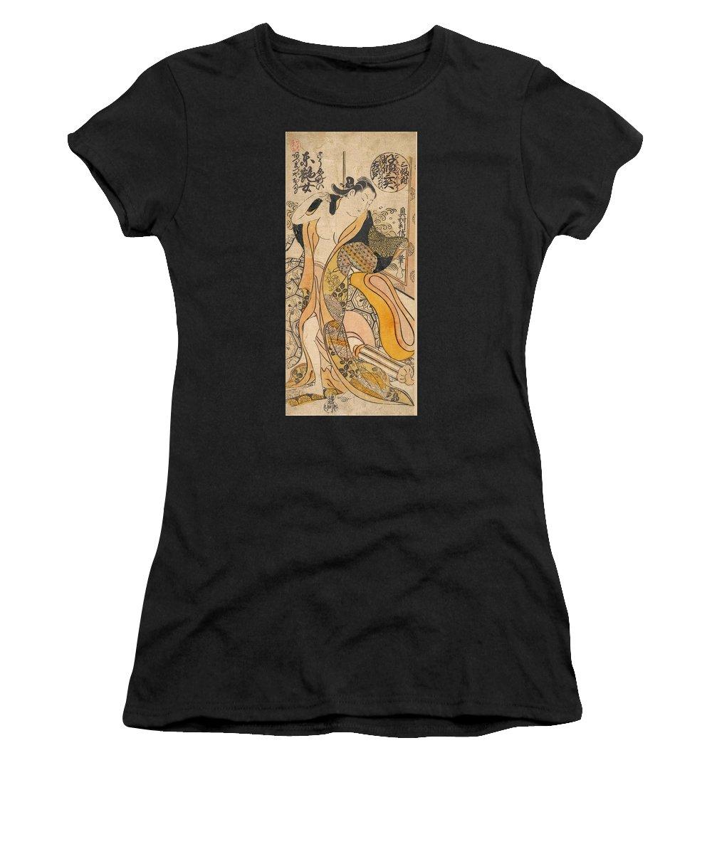 Okumura Toshinobu Women's T-Shirt (Athletic Fit) featuring the drawing Woman Disrobing by Okumura Toshinobu
