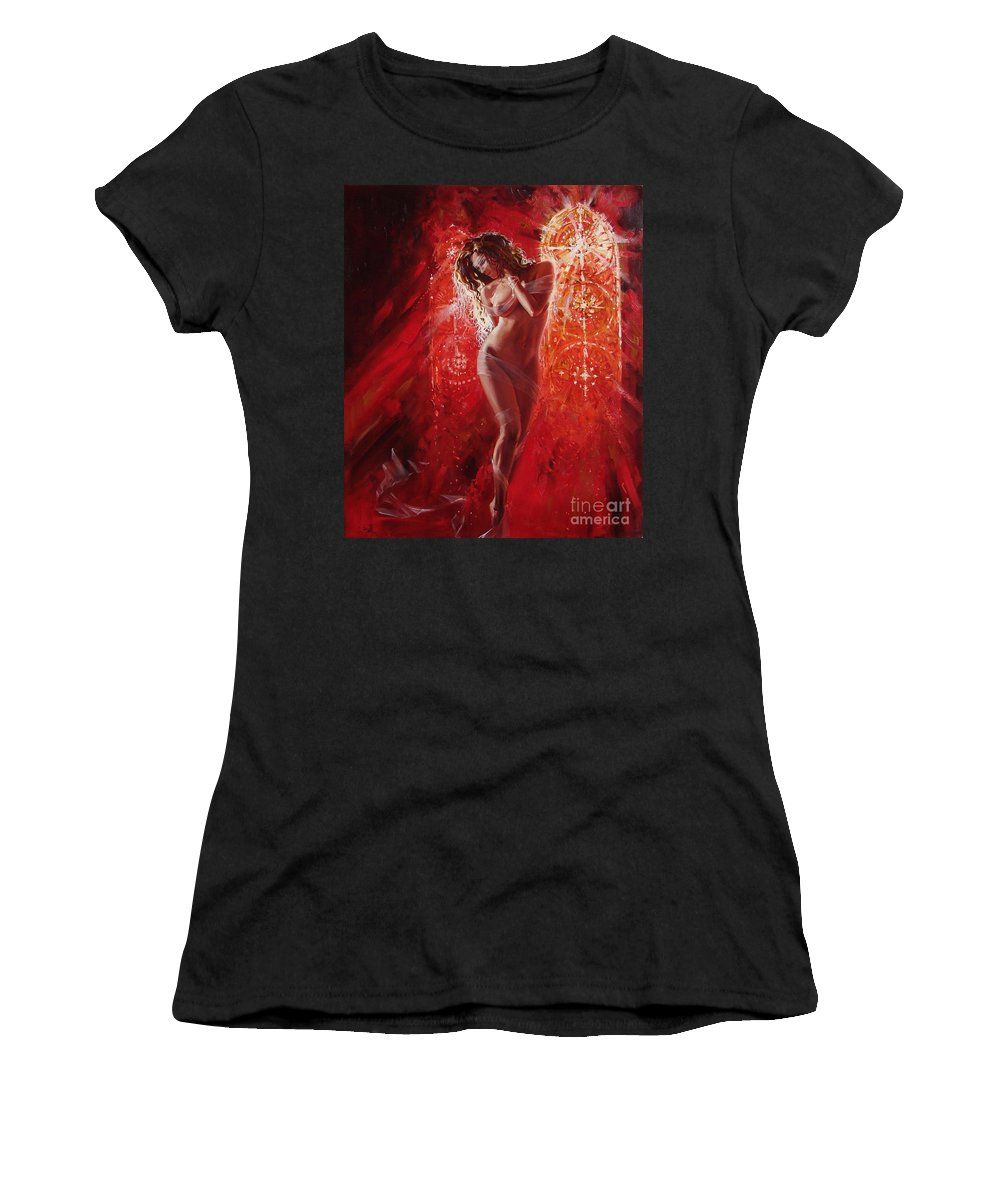Ignatenko Women's T-Shirt (Athletic Fit) featuring the painting Woman In Church by Sergey Ignatenko