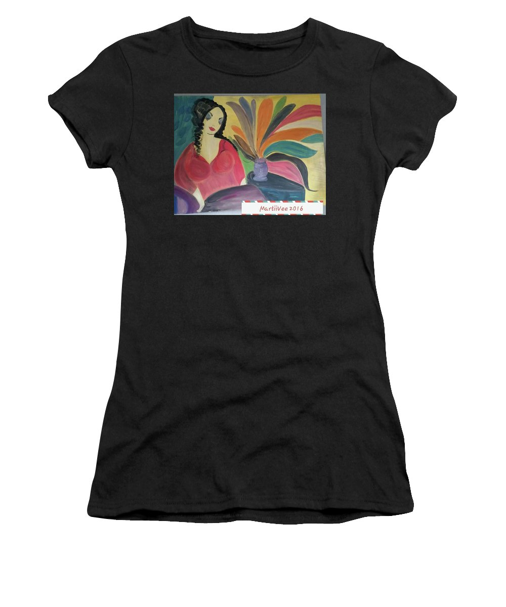 Woman Women's T-Shirt (Athletic Fit) featuring the painting Woman by MartiiVee Pierce