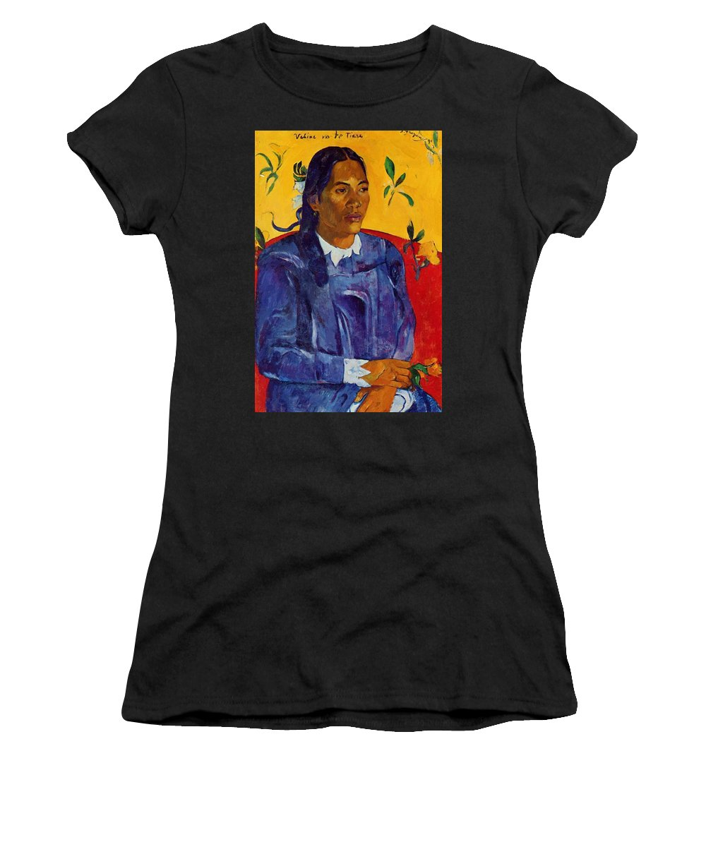 Woman Women's T-Shirt (Athletic Fit) featuring the painting Woman With A Flower 1891 by Gauguin Paul