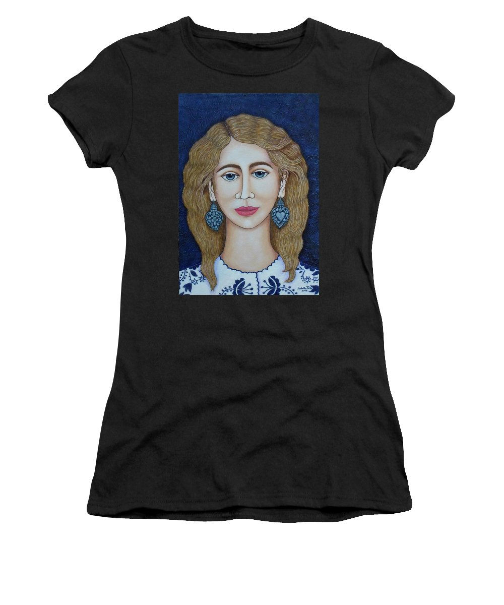 Woman Women's T-Shirt (Athletic Fit) featuring the painting Woman With Silver Earrings by Madalena Lobao-Tello
