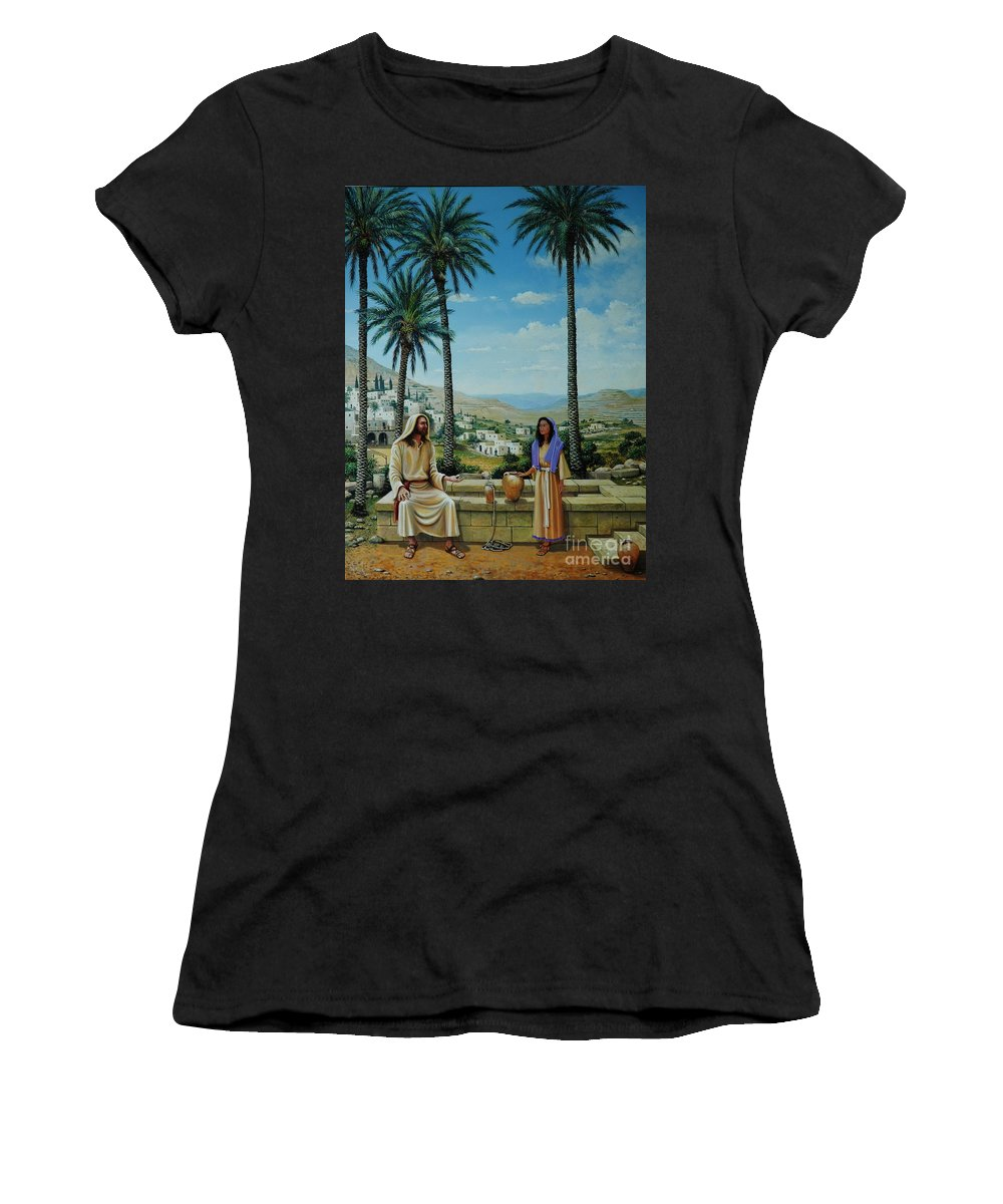 Jesus Women's T-Shirt (Athletic Fit) featuring the painting Women At The Well by Michael Nowak