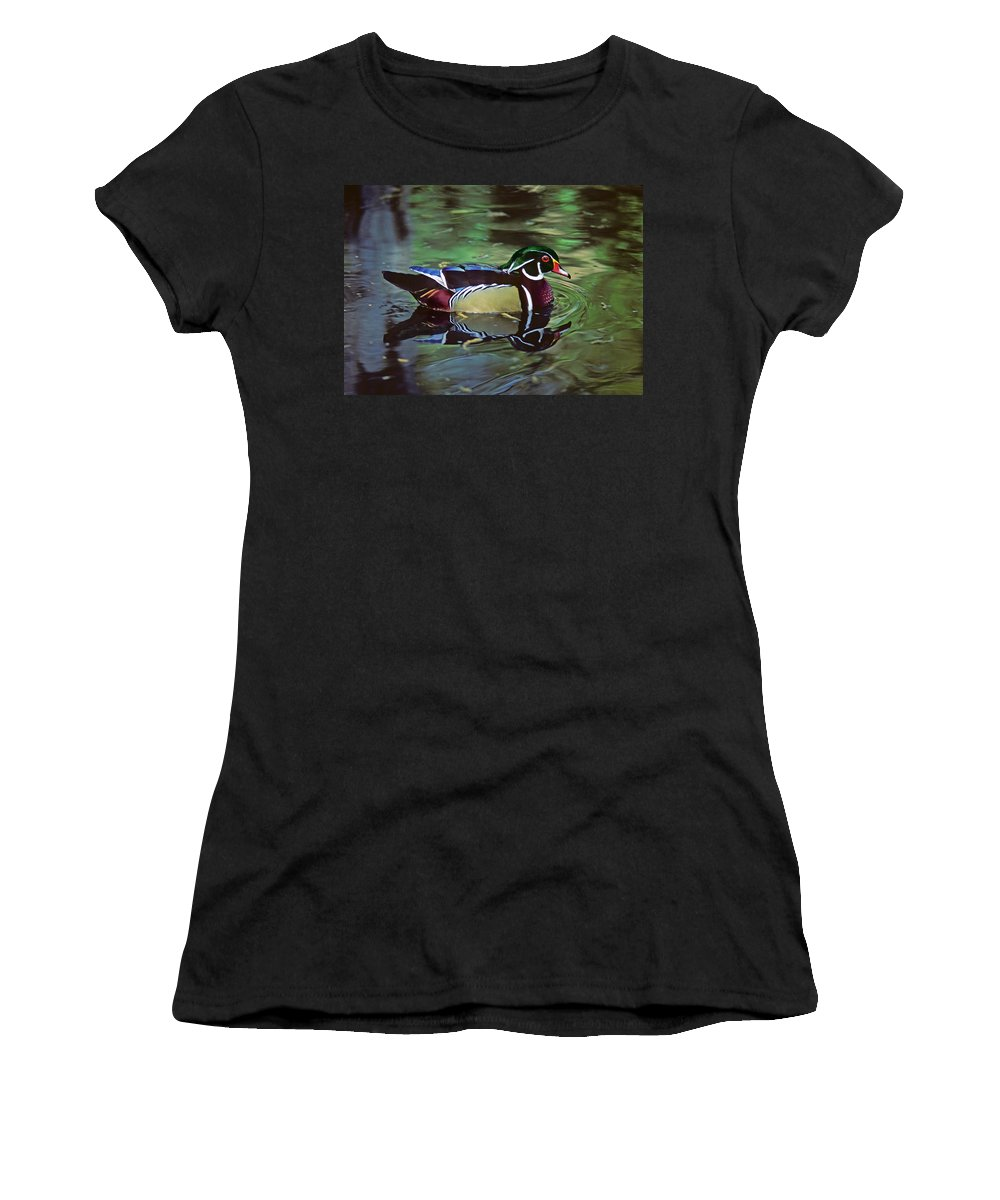 Wood Duck Women's T-Shirt (Athletic Fit) featuring the photograph Wood Duck by Marie Hicks