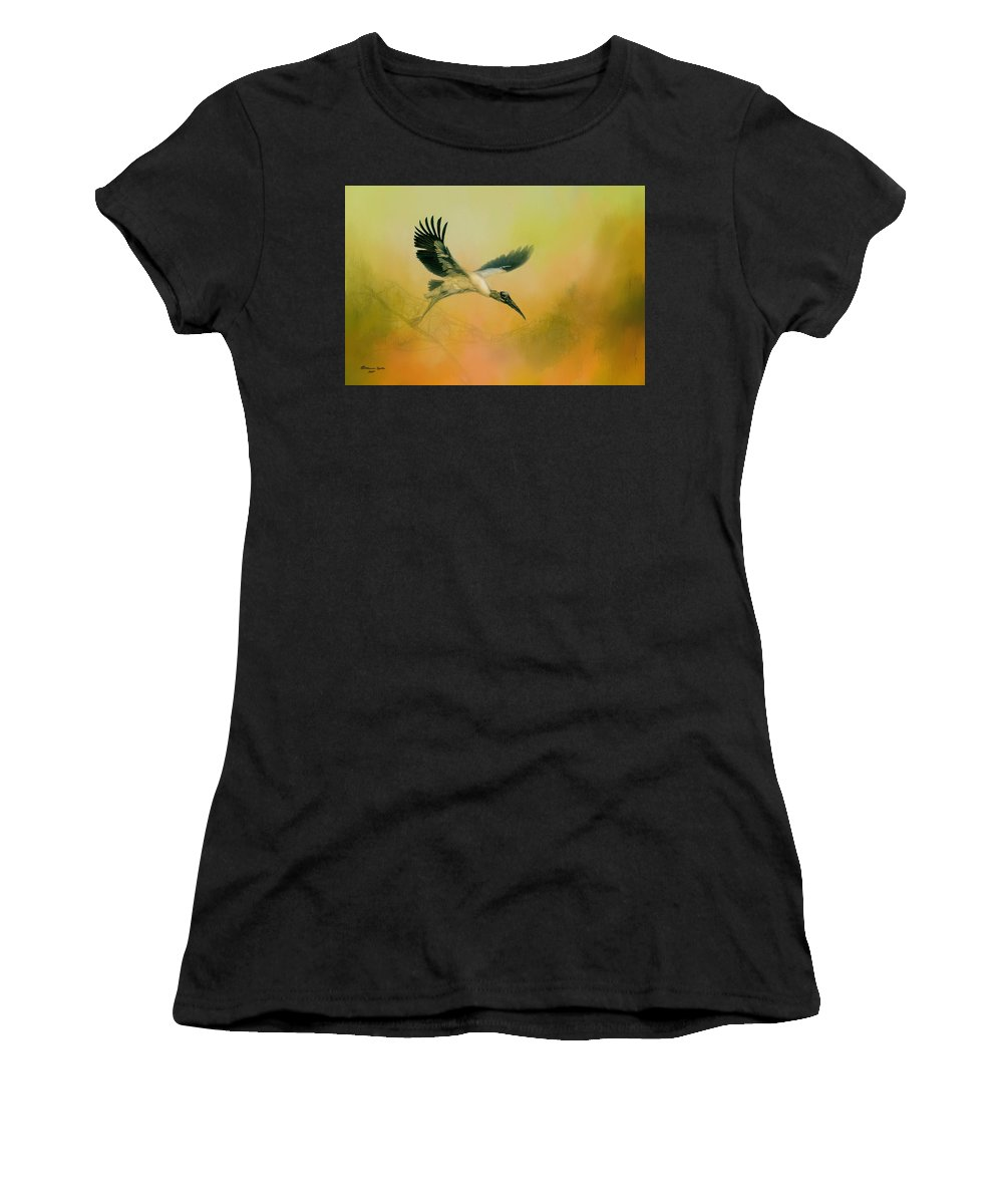 Birds Women's T-Shirt (Athletic Fit) featuring the photograph Wood Stork Encounter by Marvin Spates