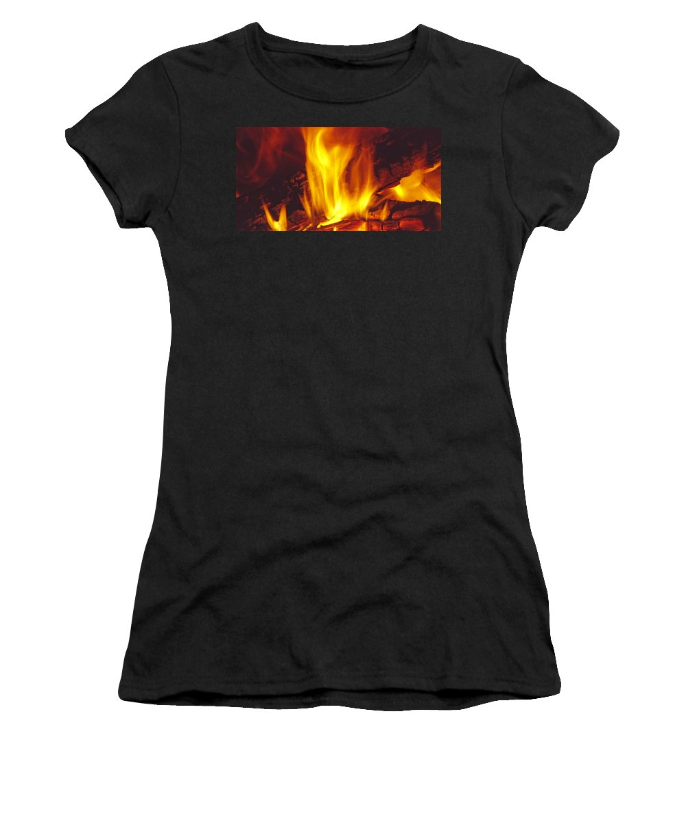Fire Women's T-Shirt (Athletic Fit) featuring the photograph Wood Stove - Blazing Log Fire by Steve Ohlsen