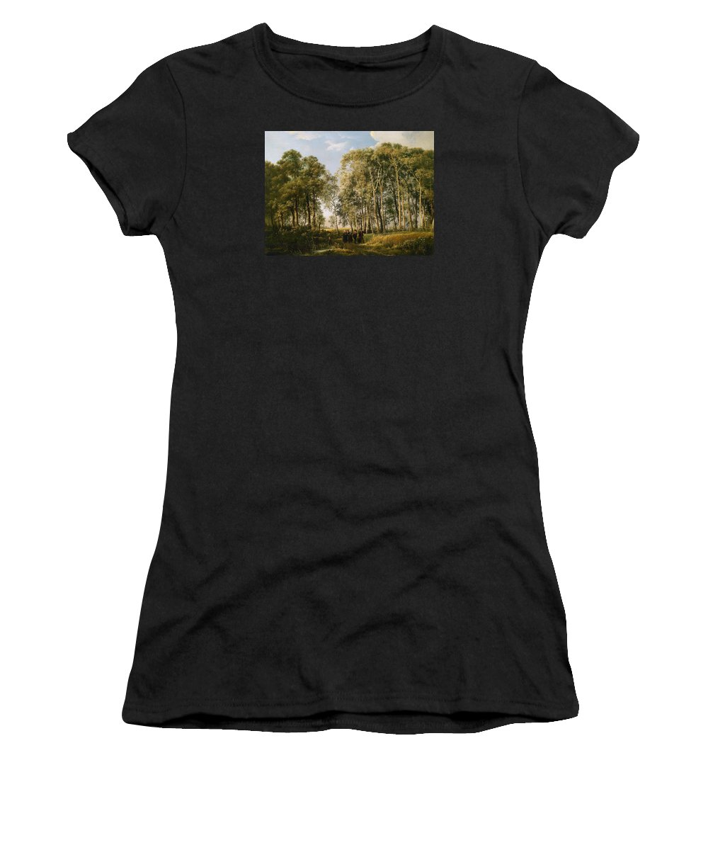 Painting Women's T-Shirt (Athletic Fit) featuring the painting Wooded Landscape With A Group Of Figures In Costume by Mountain Dreams
