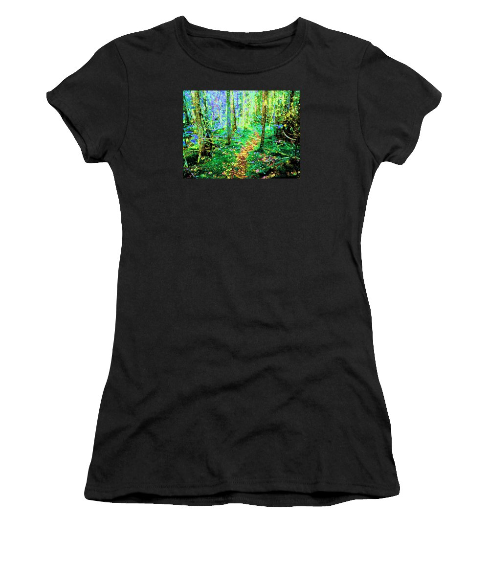 Nature Women's T-Shirt (Athletic Fit) featuring the digital art Wooded Trail by Dave Martsolf