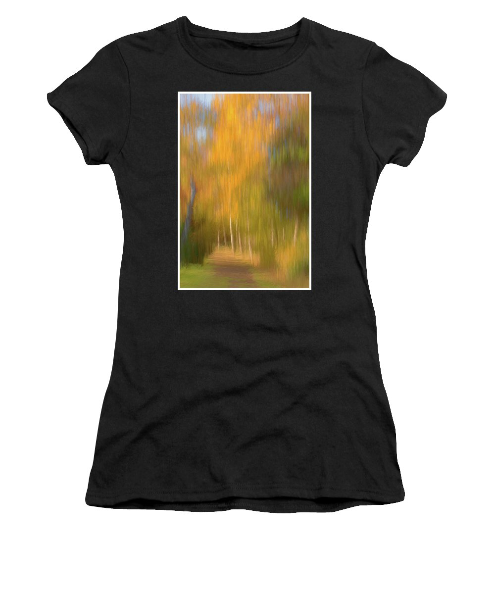 Abstract Women's T-Shirt (Athletic Fit) featuring the photograph Woodland Walk by John Fotheringham