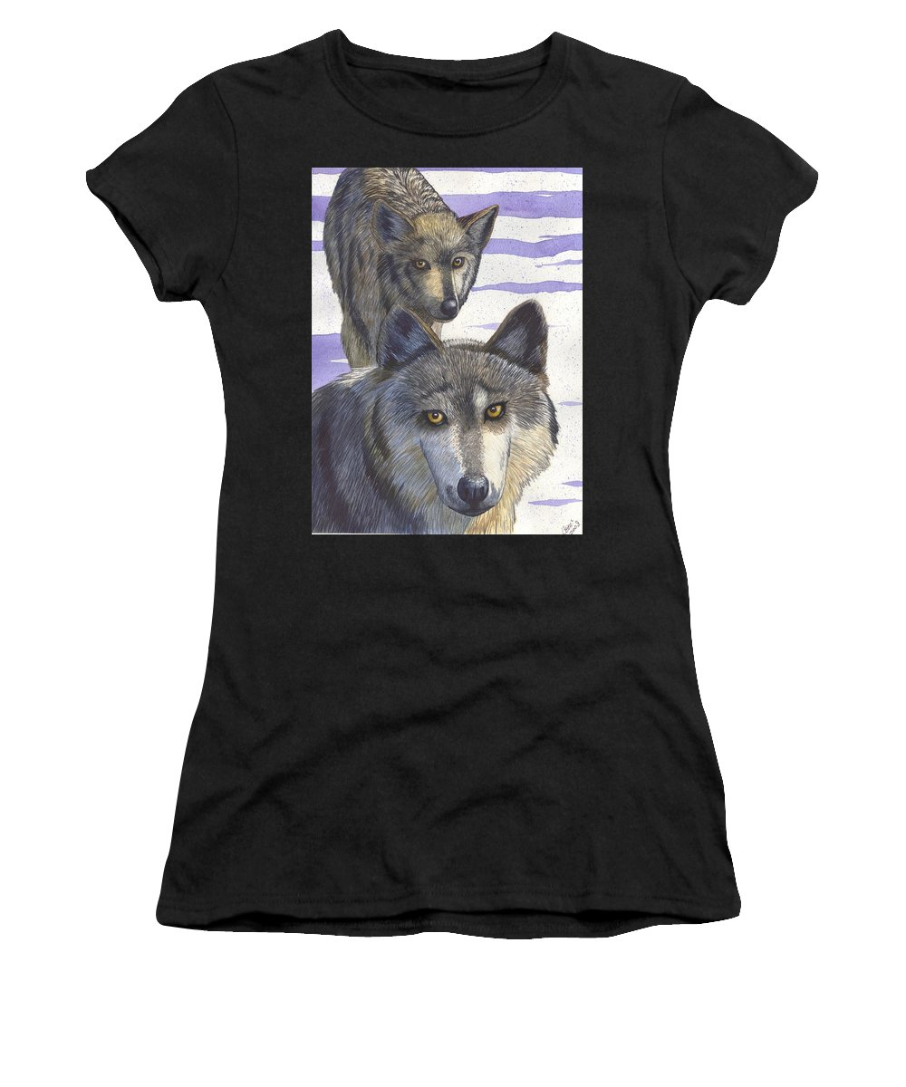 Wolf Women's T-Shirt (Athletic Fit) featuring the painting Woofies by Catherine G McElroy