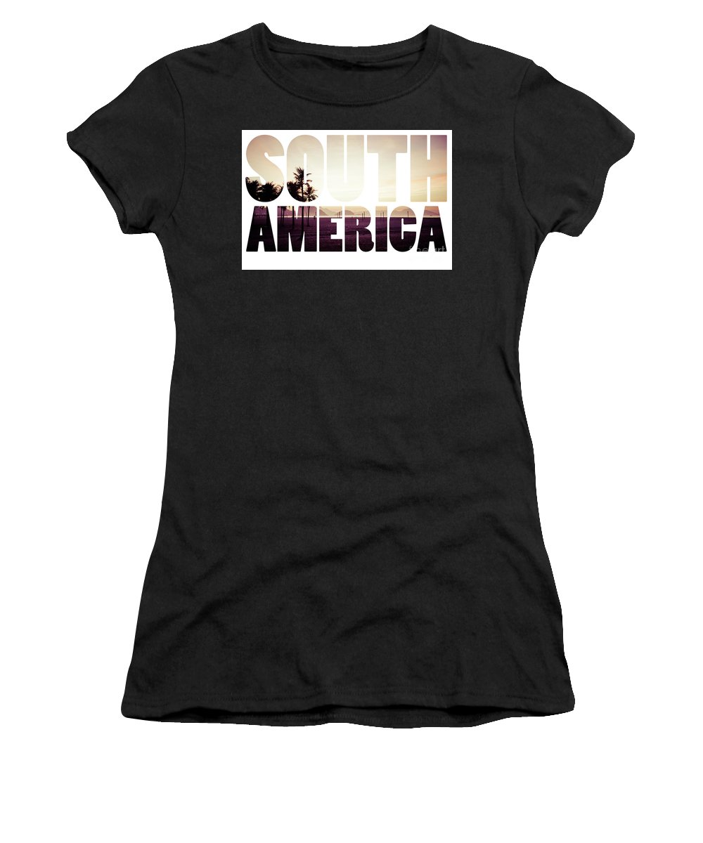 Brasilia Women's T-Shirt (Athletic Fit) featuring the photograph Word South America Copacabana Beach, Rio De Janeiro, Brazil by Mariusz Prusaczyk