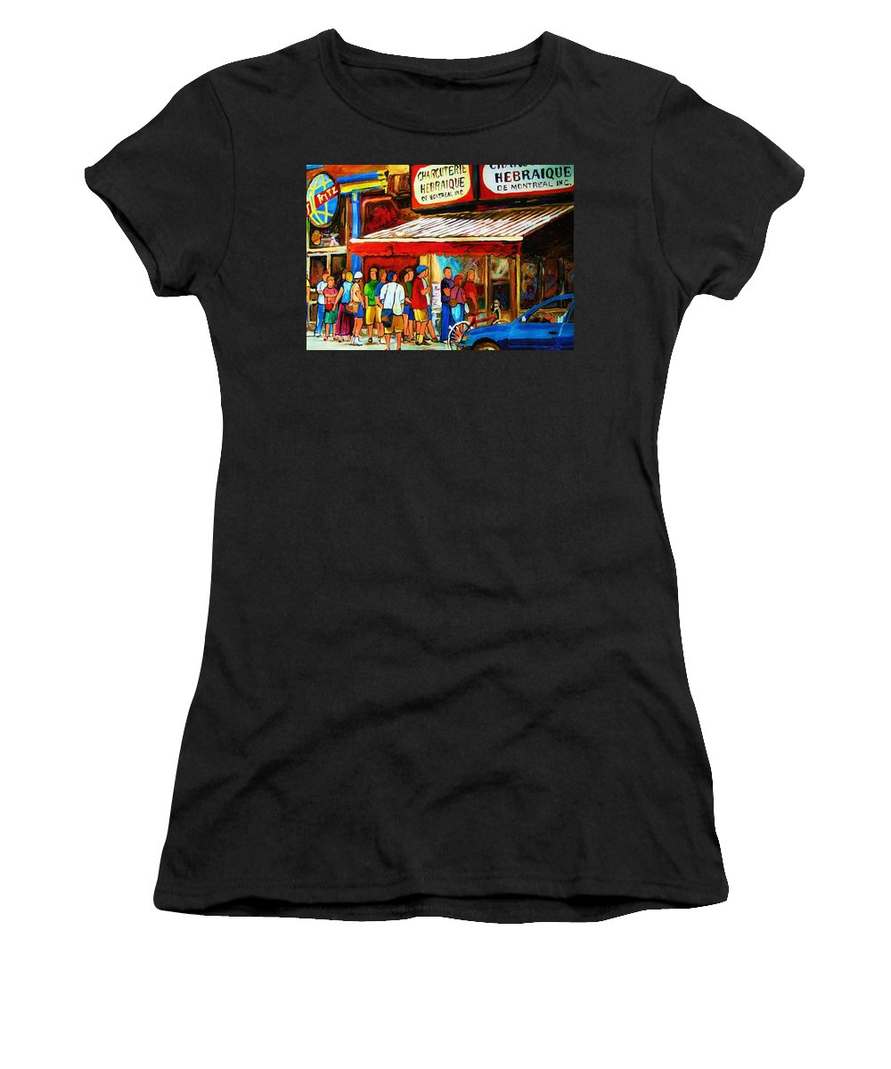 Montreal Streetscenes Women's T-Shirt (Athletic Fit) featuring the painting Worth The Wait by Carole Spandau