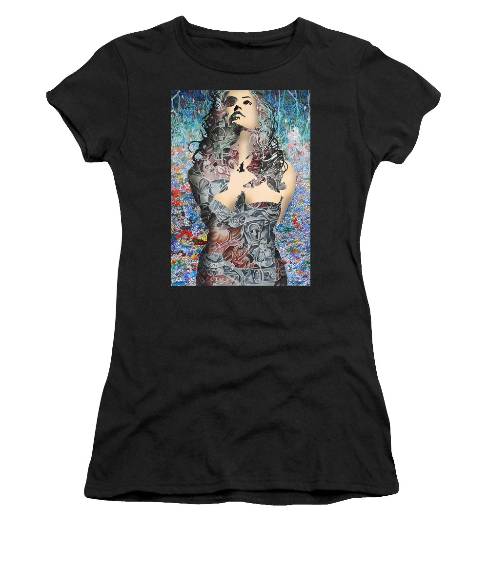 Young Women's T-Shirt featuring the digital art wow by Faruk Kutlu