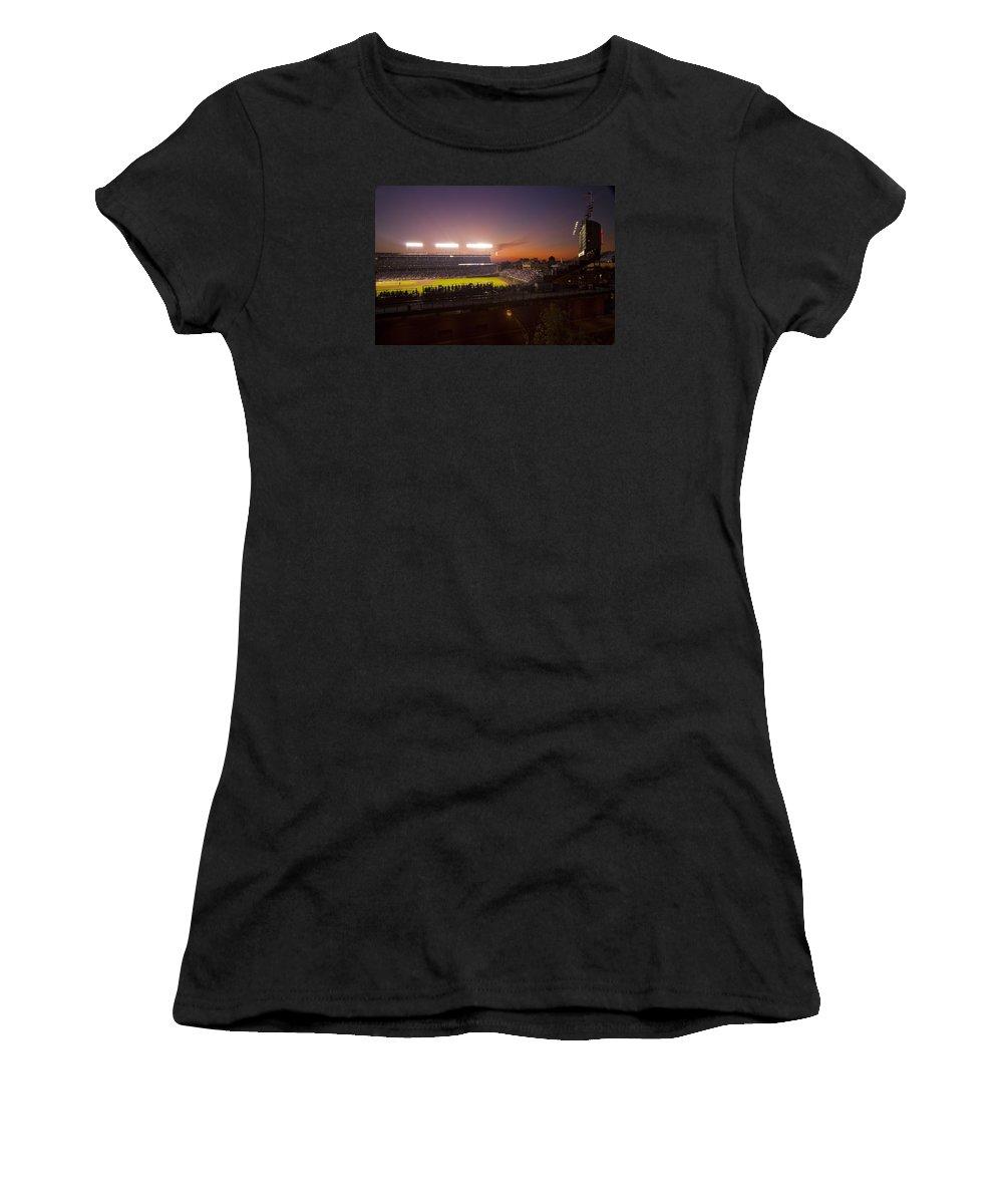 Cubs Women's T-Shirt featuring the photograph Wrigley Field At Dusk by Sven Brogren