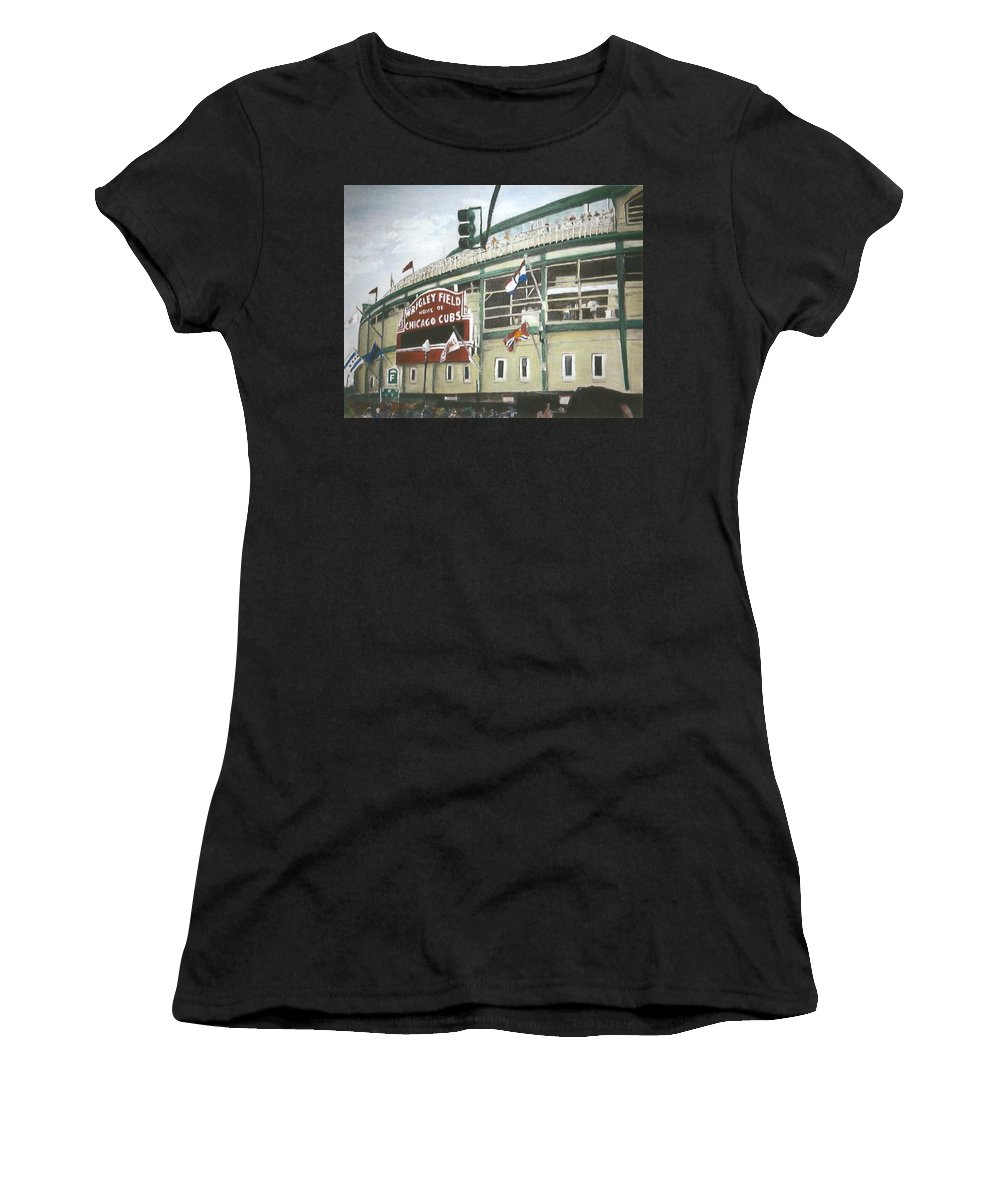 Wrigley Field Women's T-Shirt (Athletic Fit) featuring the painting Wrigley Field by Travis Day