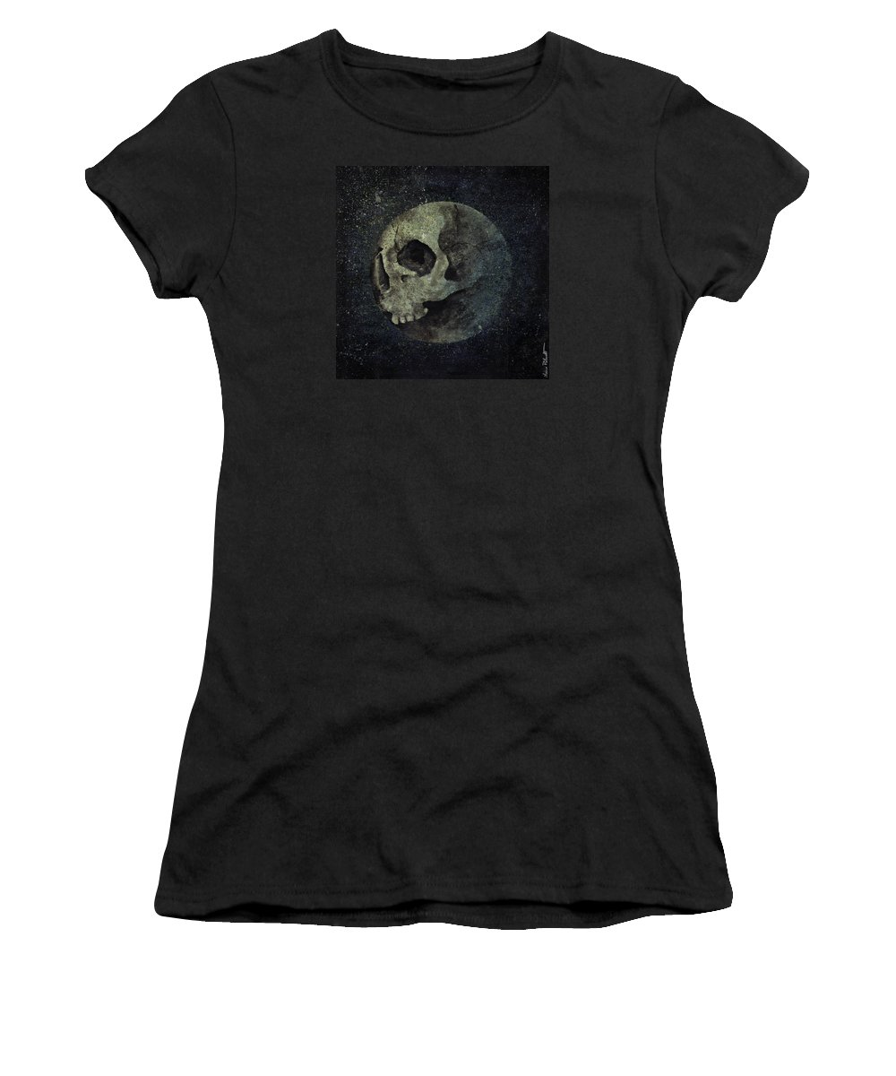 Surreal Painting Women's T-Shirt featuring the painting Wrong Half Of The Moon by Marco Paludet