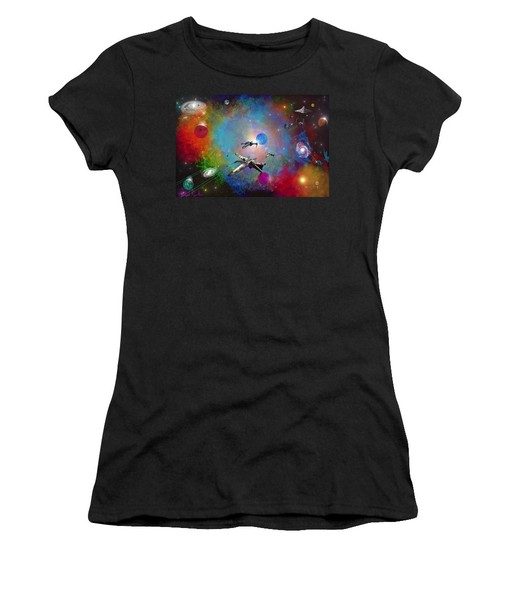 Star Wars Women's T-Shirt featuring the painting X-wing Fighter by Michael Rucker