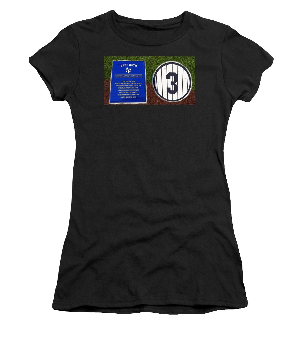 Art Women's T-Shirt featuring the painting Yankee Legends Number 3 by David Lee Thompson