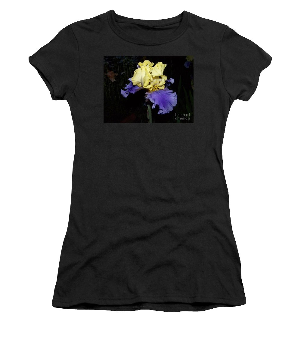 Iris Women's T-Shirt (Athletic Fit) featuring the photograph Yellow And Blue Iris by Kathy McClure