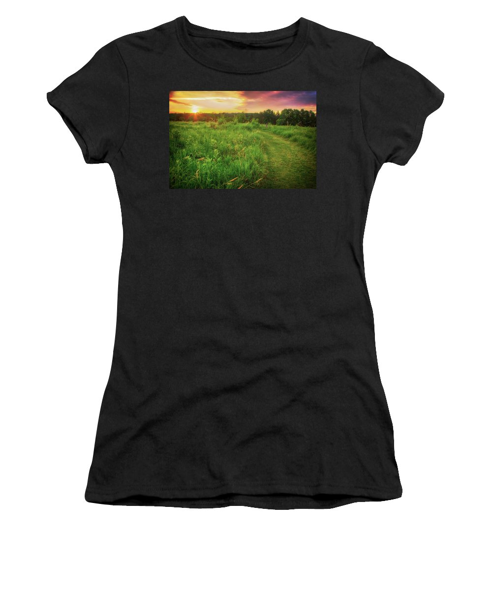 Wisconsin Landscape Women's T-Shirt featuring the photograph Retzer Nature Center - Yellow And Purple Summer Sunset by Jennifer Rondinelli Reilly - Fine Art Photography