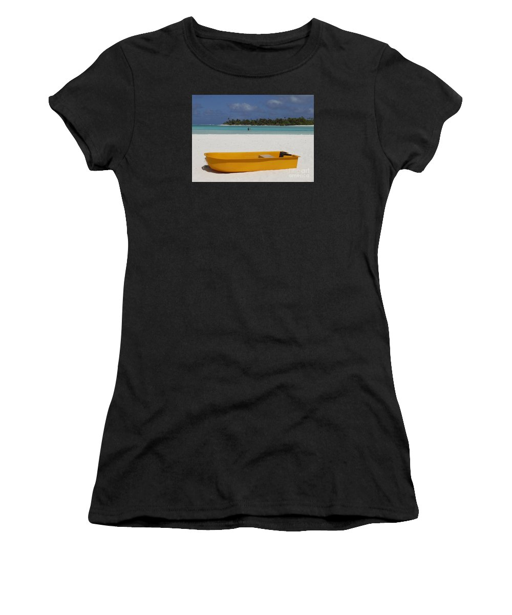 Yellow Boat Women's T-Shirt featuring the photograph Yellow Boat In South Pacific by Barbie Corbett-Newmin